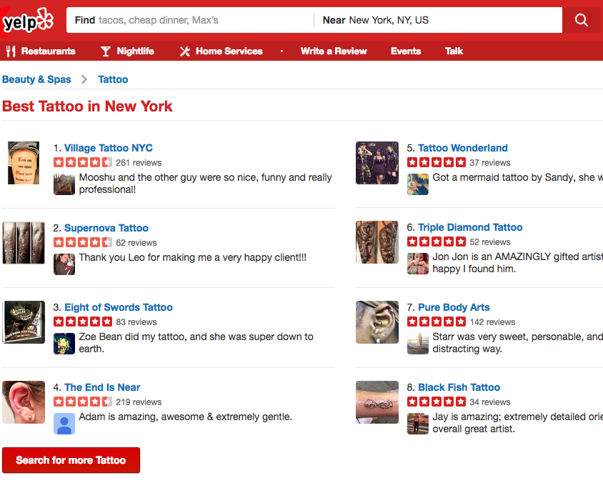 find tattoo artists using yelp