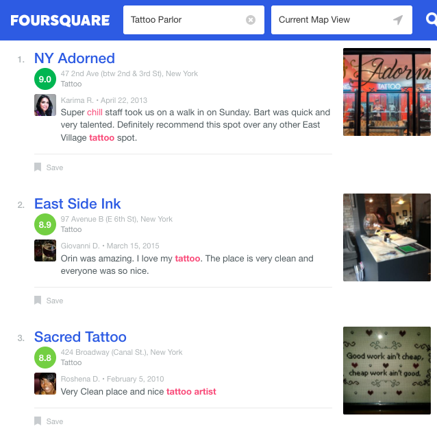 first a tattoo shop using foursquare