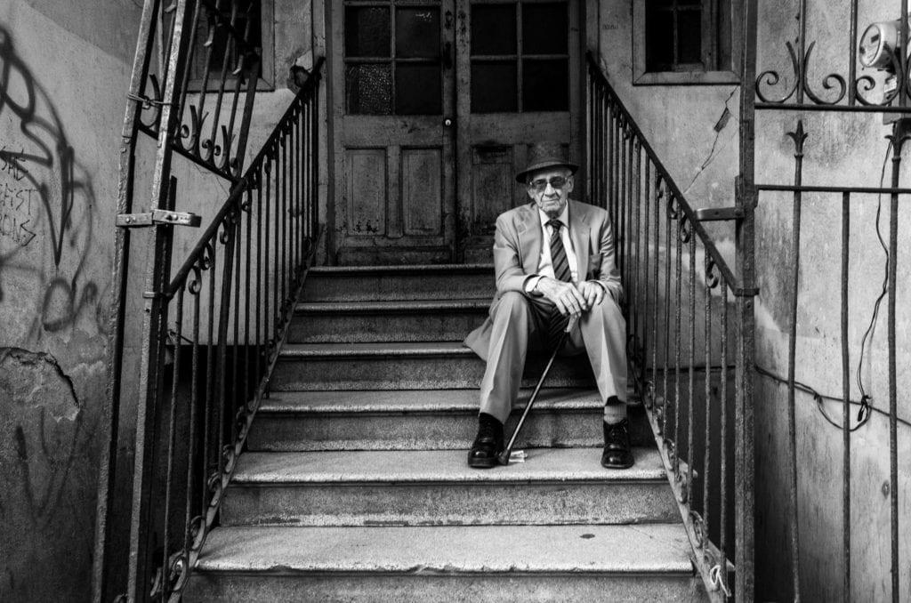 Black & white street portrait